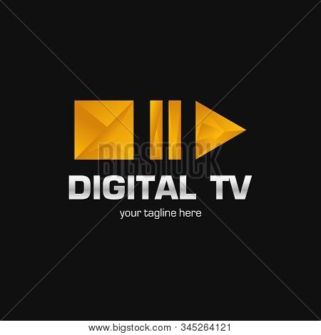 Digital Tv Logo Template. Media Company Logo Or Film Production Studio Or Audio-visual Studio Or On-
