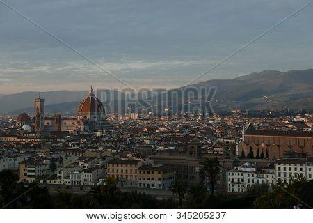 Florence Overview, Brunelleschi Dome Of Santa Maria Del Fiore, Italy