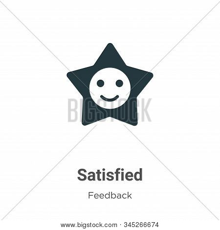 Satisfied icon isolated on white background from feedback collection. Satisfied icon trendy and mode