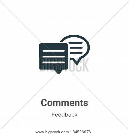 Comments Vector Icon On White Background. Flat Vector Comments Icon Symbol Sign From Modern Feedback