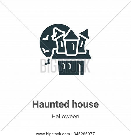 Haunted House Vector Icon On White Background. Flat Vector Haunted House Icon Symbol Sign From Moder