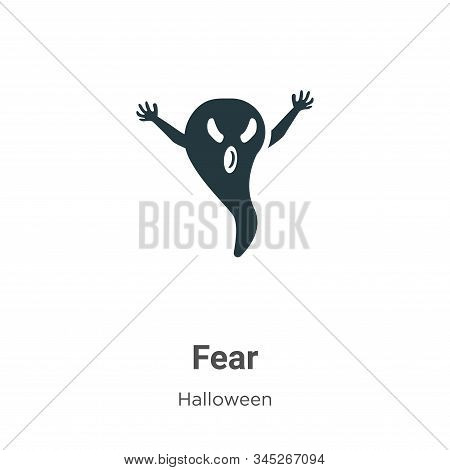 Fear Vector Icon On White Background. Flat Vector Fear Icon Symbol Sign From Modern Halloween Collec