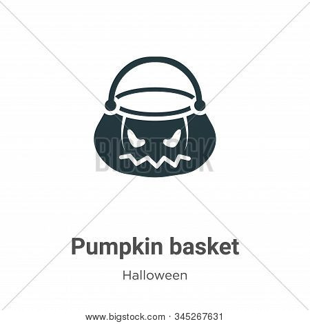 Pumpkin basket icon isolated on white background from halloween collection. Pumpkin basket icon tren
