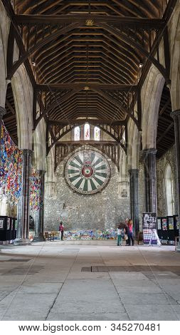 Winchester, Uk - July 27, 2012. King Arthurs Round Table And The Great Hall In Winchester, Hampshire