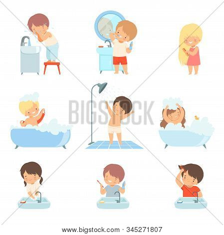 Children Taking Bath And Washing Themselves Vector Illustrations Set. Little Girl Brushing Her Hair