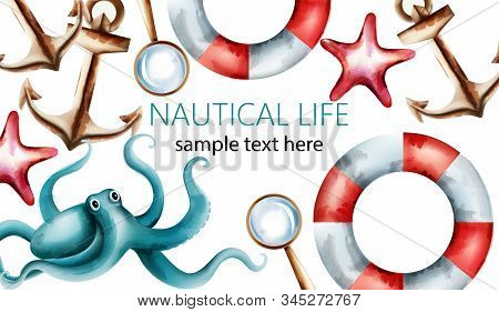 Nautical Watercolor Card With Starfish, Shell, Octopus, Anchor, Magnifier And Life Preserver