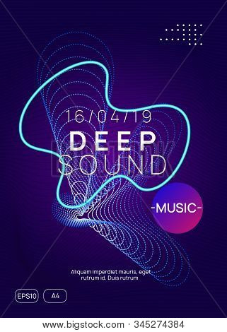 Techno Event. Dynamic Gradient Shape And Line. Abstract Discotheque Banner Layout. Neon Techno Event