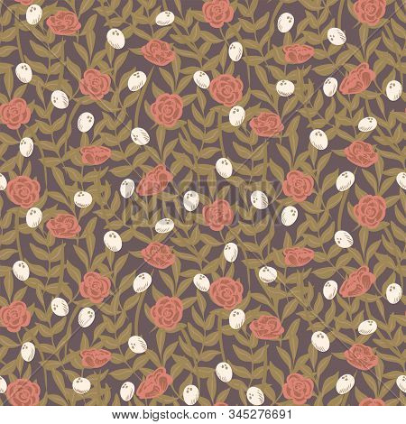 Rose Bush Dark Seamless Vector Pattern. Dusty Pink Rose Bushes Forming A Floral Wall With A Dark Bro