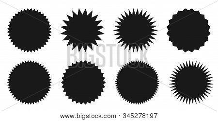 Star Burst Sticker Set. Black Flat Price Tags Explosion Silhouettes, Starburst Retro Sale Badge. Vec