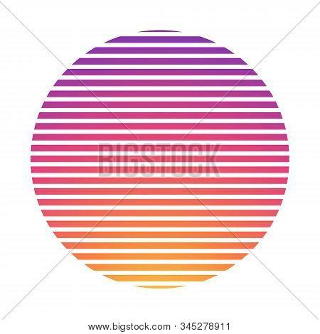 Retrowave Synthwave Vaporwave Yellow Pink Gradient Glowing Sun On Blue Laser Grid Background In Star