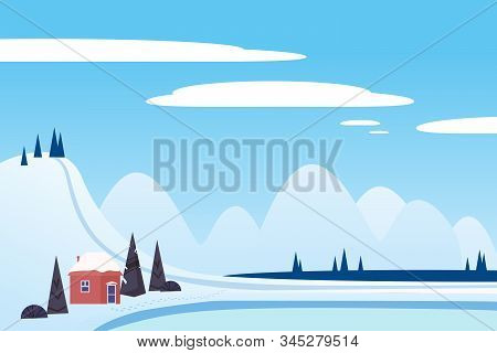 Winter Landscape Sci Mountains House Hut Frosen Lake River Ice. Pine Trees Snow Ice And Hills. Vecto