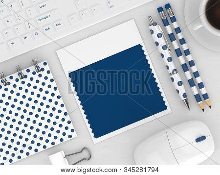3d Render Of Stationery With  Textile Color Swatch Lying On Wooden Desk. Classic Blue. Color Of The