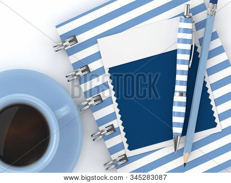 3d Render Of Stationery With Textile Color Swatch Lying On Desk. Classic Blue. Color Of The Year 202