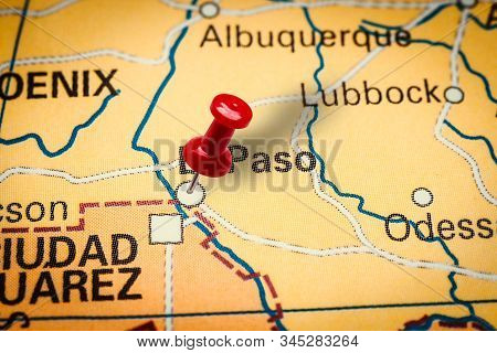 Prague, Czech Republic - January 12, 2019: Red Thumbtack In A Map. Pushpin Pointing At El Paso City