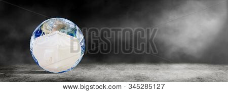 Ecology, Pollution And Environment Concept : Blue Planet Earth Wear Protective Or Face Masks That Su