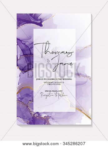 Watercolor Purple Ink Splash With Gold Foil Sparkles  On Bridal Shower Template, Wedding Invitation,