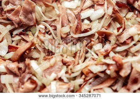Roasted Onions And Pink Oyster Mushrooms Background, Finest Dining Meal, Closeup