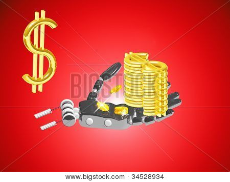 Robot Hand With Coins And Dollars