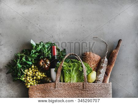 Flat-lay Of Healthy Grocery Shopping Bag With Food And Wine