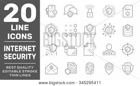 Internet Services And Database Protection Vector Linear Icons Set. Collection Of Internet Hosting An