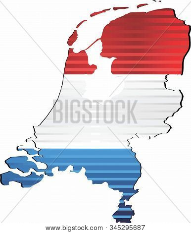 Shiny Grunge Map Of The Netherlands - Illustration,  Three Dimensional Map Of Netherlands