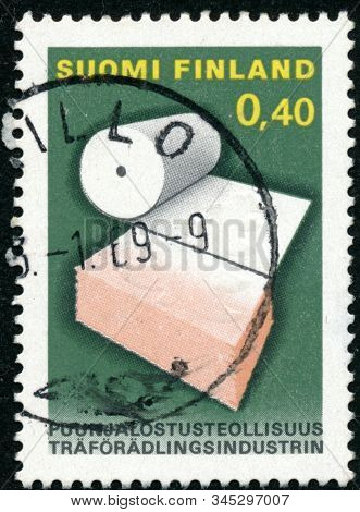 Vintage Stamp Printed In Finland 1968 Shows Woodworking Industry