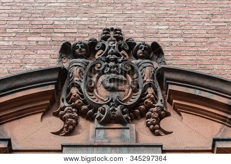 Elaborately Carved Stone Entry Pediment, Architectural Ornament, Horizontal Aspect
