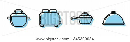 Set Line Frying Pan , Cooking Pot , Toaster With Toasts And Covered With A Tray Of Food Icon. Vector
