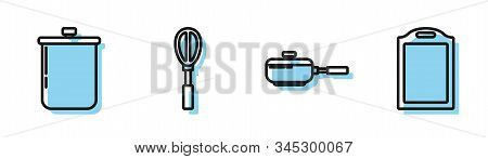 Set Line Frying Pan , Cooking Pot , Kitchen Whisk And Cutting Board Icon. Vector