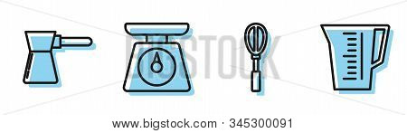 Set Line Kitchen Whisk , Coffee Turk , Scales And Measuring Cup Icon. Vector