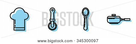 Set Line Spoon , Chef Hat , Pizza Knife And Frying Pan Icon. Vector