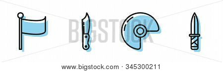 Set Line Military Helmet , Flag , Military Knife And Military Knife Icon. Vector