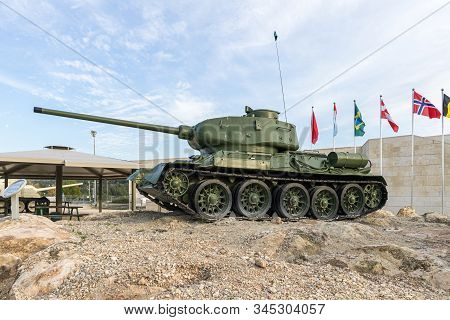 Latrun, Israel, January 14, 2020 : T34/85 Tank Is On The Memorial Site Near The Armored Corps Museum