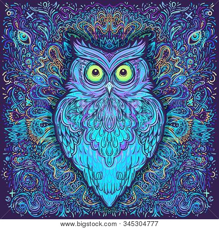Cute Abstract Owl And Psychedelic Ornate Pattern. Character Tattoo Design For Pet Lovers, Artwork Fo