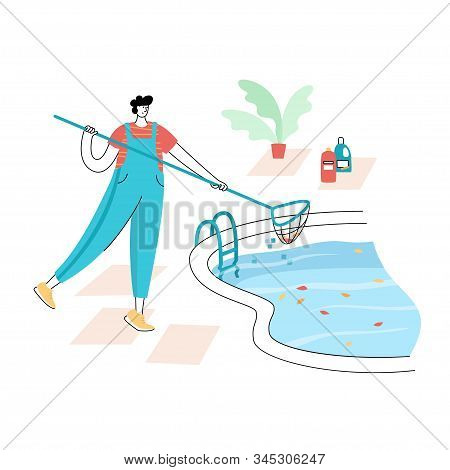 Vector Isolated Illustration Of Worker In Uniform Cleaning Leaves From A Swimming Pool With Skimmer.