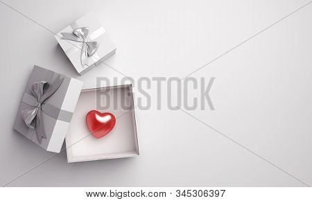 Happy Valentines Day, Valentines Day Background, White Opened  Gift Box And Red Heart Shape On Backg