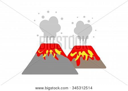 Erupting Lava And Volcanic Gas Volcano On A White Background. Flat Vector. Illustration