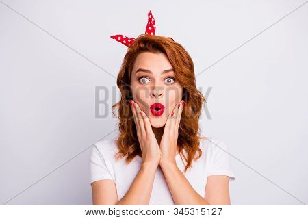 Portrait Of Astonished Girl Look Good Incredible Novelty Touch Hands Face Wear Casual Style Clothing