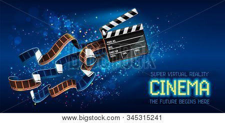 Cinema Producers Clapperboard For Film Making Flying In Space With Trails Of Stars And Film-strip Fi