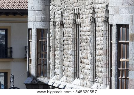 Details Of The Botines Building Facade, At Leon, Spain