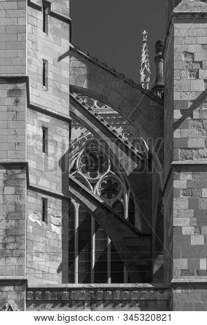 Gothic Buttresses United By Flying Buttresses Of The Cathedral Of Leon