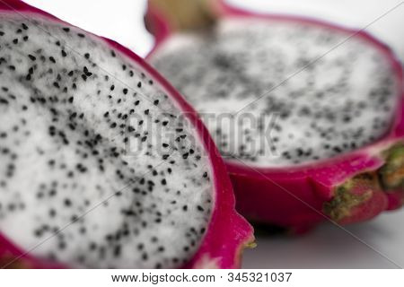 Dragon Fruit. Vibrant Dragon Fruit On White Background. Sliced White Dragon Fruit Or Pitaya On White