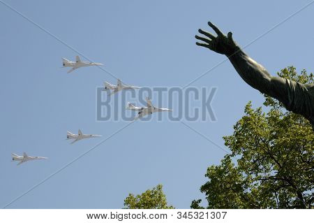 Moscow, Russia - May 7,2019: Rehearsal Of The Victory Day Celebration . The Airshow On The Red Squar