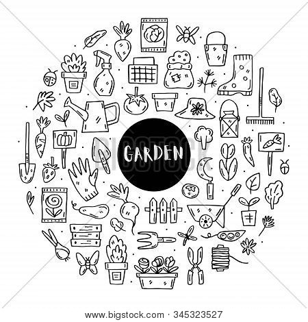 Gardening Vector Doodle Line Art Clip Art, Set Of Elements, Stickers, Icons. Isolated On White Backg