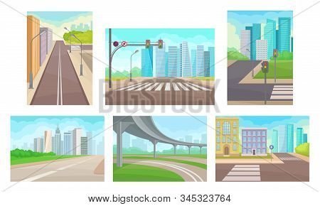 Urban Roads And Motorways Vector Illustrations Set