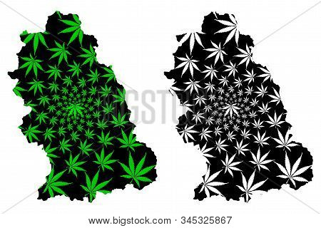 Hunedoara County (administrative Divisions Of Romania) Map Is Designed Cannabis Leaf Green And Black