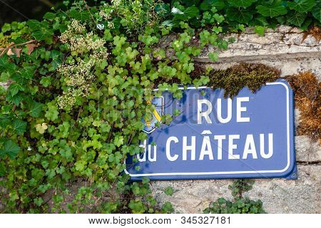 France Beaune 2019-06-20 Closeup Authentic Vintage Steel Or Metal French Street Plate, French Text -