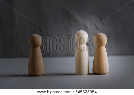 Love Triangle Concept. One Wooden Men And Two Woman. Divorce. Treason.
