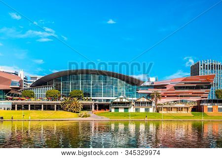 Adelaide, South Australia - August 4, 2019: Renovated Adelaide Convention Centre Building Viewed Acr