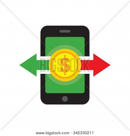 Mobile Phone Dollar Money Transaction Concept Icon Vector Illustration In Flat Style Design. Digital